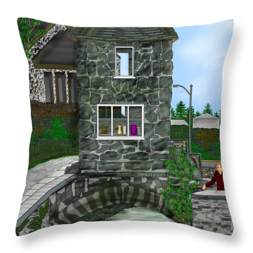 Landscape Throw Pillow featuring the painting Stone Bridge House In The Uk by Anne Norskog