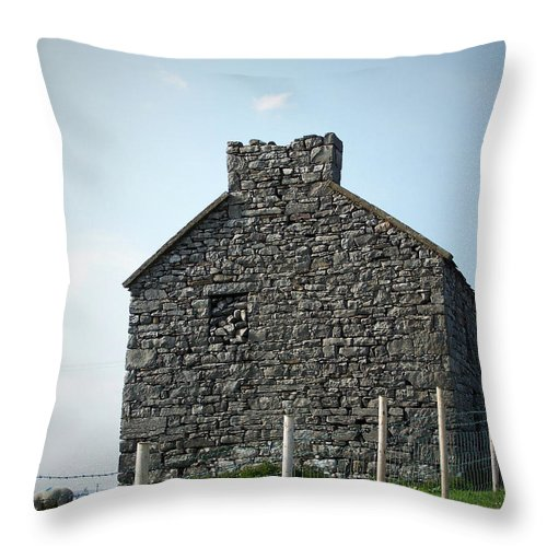 Irish Throw Pillow featuring the photograph Stone Building Maam Ireland by Teresa Mucha
