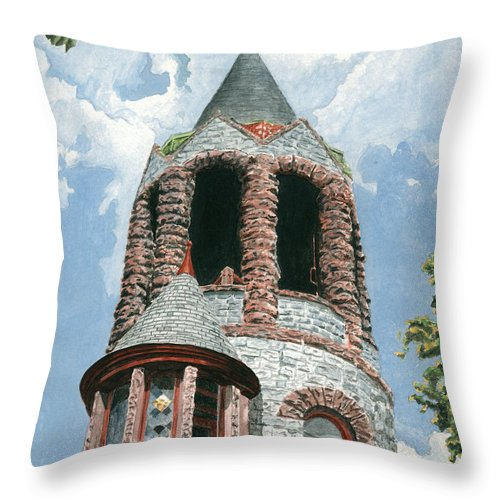 Church Throw Pillow featuring the painting Stone Church Bell Tower by Dominic White