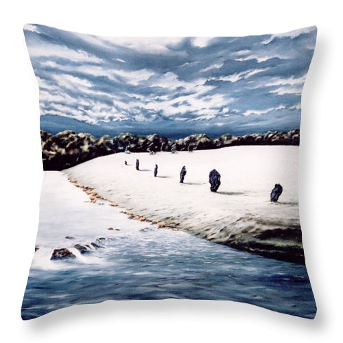 Stoneage Throw Pillow featuring the painting Stone Delusion by Mark Cawood