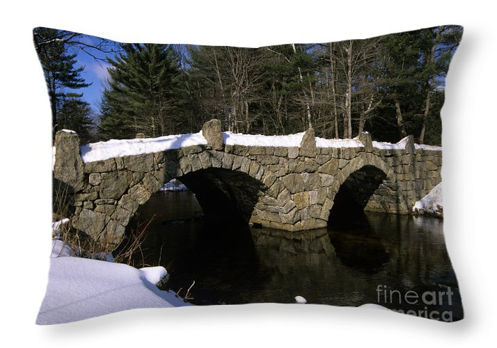 Bridge Throw Pillow featuring the photograph Stone Double Arched Bridge - Hillsborough New Hampshire Usa by Erin Paul Donovan