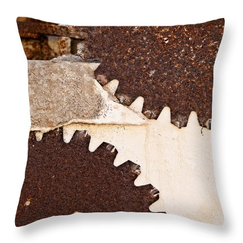Limestone Throw Pillow featuring the photograph Stone Eater In Lime Stone Quarry - Lithica by Pedro Cardona Llambias