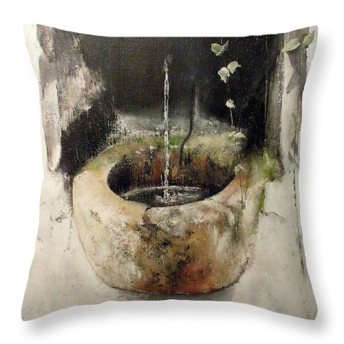 Stone Fountain Throw Pillow featuring the painting Stone fountain by Tomas Castano