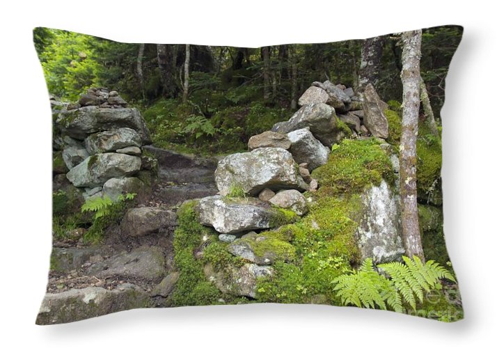 Stonewall Throw Pillow featuring the photograph Stone Gate - Edmands Path - White Mountains New Hampshire by Erin Paul Donovan