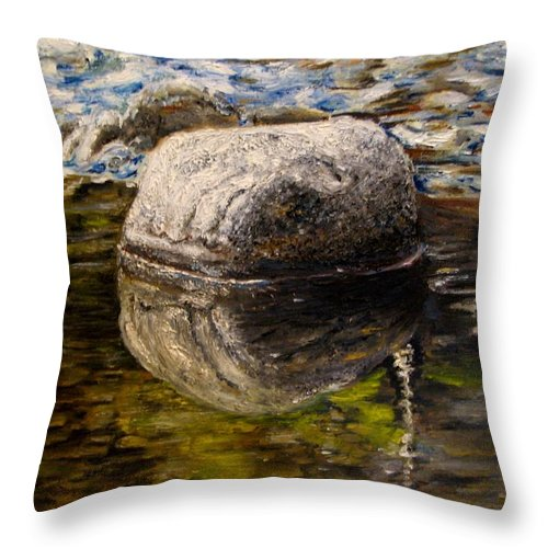 Landscape Throw Pillow featuring the painting Stone Landscape Original Oil Painting by Natalja Picugina