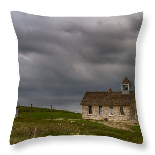 School Throw Pillow featuring the photograph Stone Schoolhouse by Guy Shultz