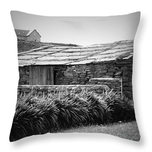 Irish Throw Pillow featuring the photograph Stone Structure Doolin Ireland by Teresa Mucha