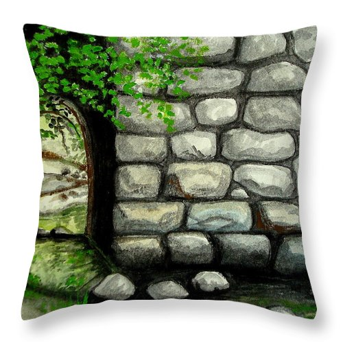 Landscape Throw Pillow featuring the painting Stone Tunnel by Elizabeth Robinette Tyndall