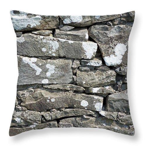Irish Throw Pillow featuring the photograph Stone Wall Detail Doolin Ireland by Teresa Mucha