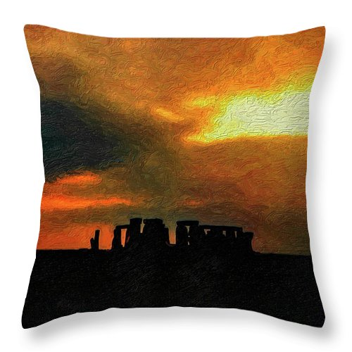 Stonehenge Throw Pillow featuring the photograph Stonehenge by Steve Harrington