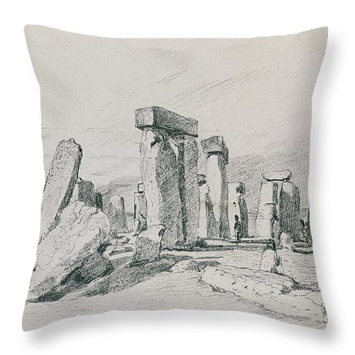 Salisbury Plain; Monument; Tourism; Druid; Summer Solstice Throw Pillow featuring the drawing Stonehenge Wiltshire by John Constable