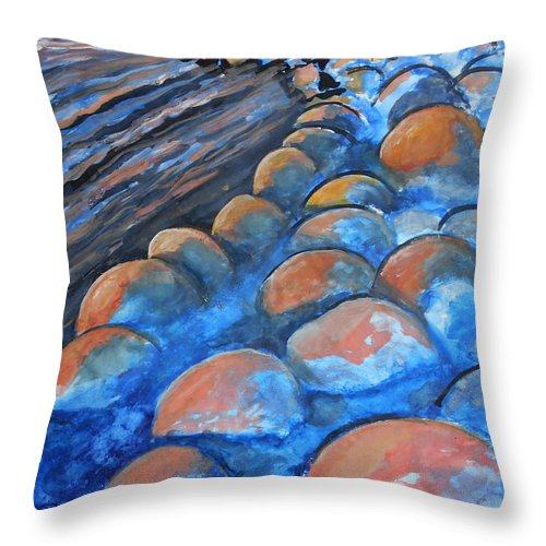Seascape Seaside Shore Ocean Stones Expressionist Color Watercolor Painting Paintings Throw Pillow featuring the painting Stones By The Sea by Laura Joan Levine