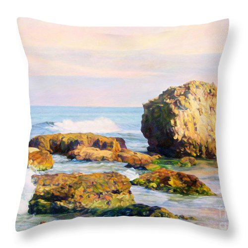The Sky Throw Pillow featuring the painting Stones In The Sea by Maya Bukhina