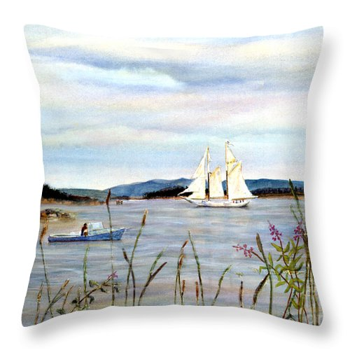 Stonington Harbor Throw Pillow featuring the painting Stonington Harbor, Maine by Pamela Parsons