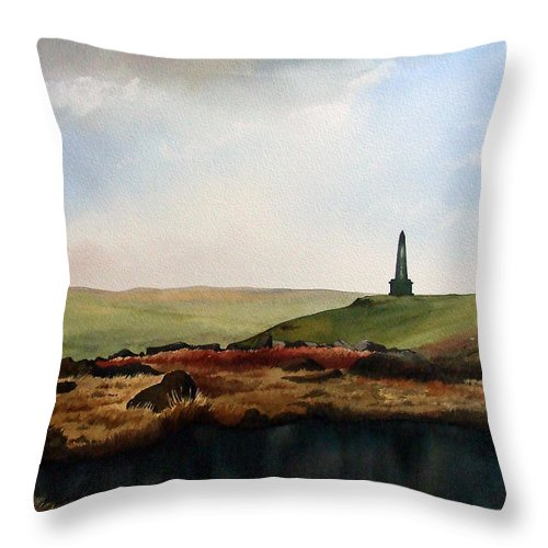 Landscape Throw Pillow featuring the painting Stoodley Pike by Paul Dene Marlor