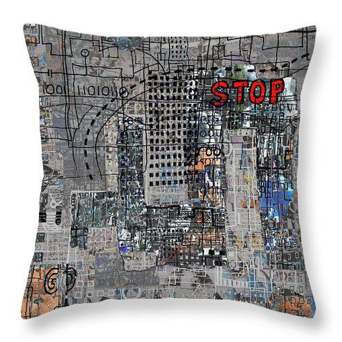 City Throw Pillow featuring the digital art Stop Again by Andy Mercer