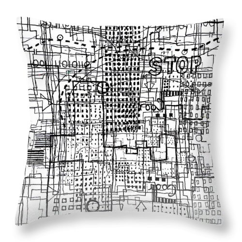 City Throw Pillow featuring the digital art Stop by Andy Mercer