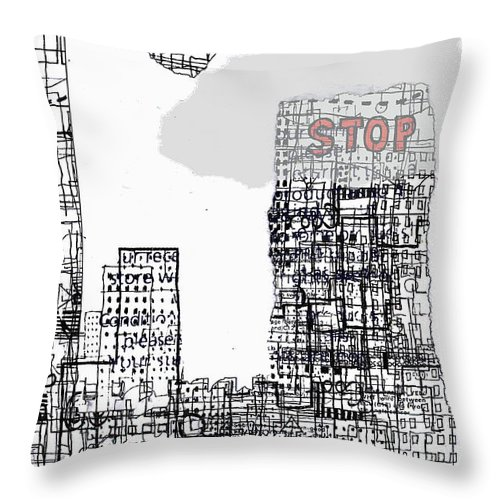 City Throw Pillow featuring the digital art Stop II by Andy Mercer