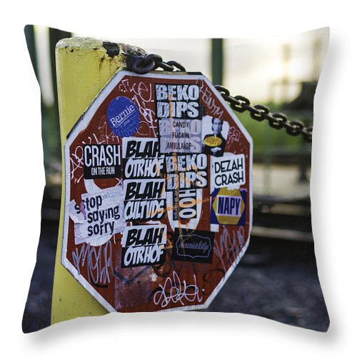 Stop Sign Throw Pillow featuring the photograph Stop Sign Ala New Orleans, Louisiana by Chris Coffee