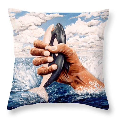 Surreal Throw Pillow featuring the painting Stop Whaling by Mark Cawood