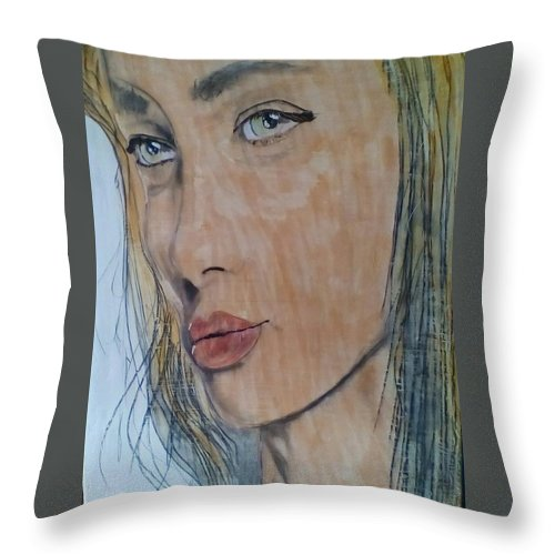 Women Throw Pillow featuring the painting Stopping to Look and life by J Bauer