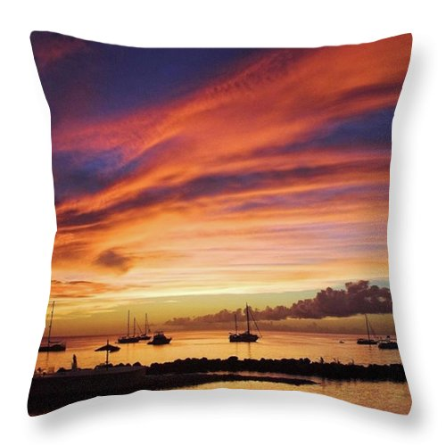 Trinidadandtobago Throw Pillow featuring the photograph Store Bay, Tobago At Sunset #view by John Edwards