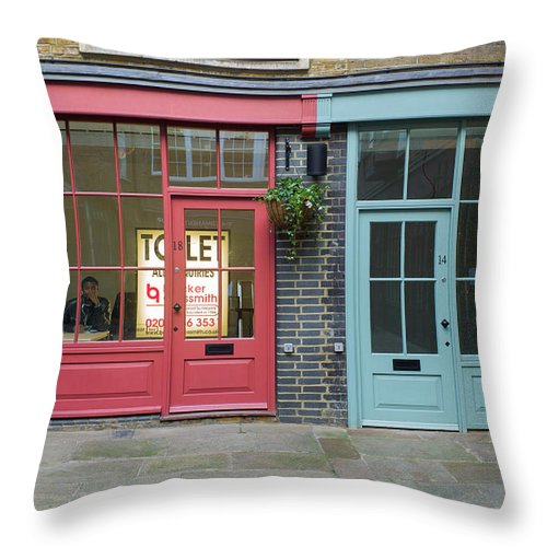 Window Throw Pillow featuring the photograph Storefronts For Let by Joe Maggio