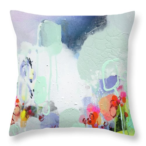 Abstract Throw Pillow featuring the painting Stories by Claire Desjardins