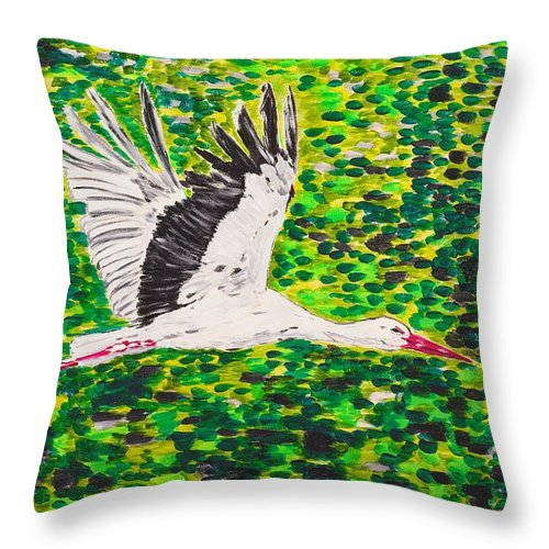 Stork Throw Pillow featuring the painting Stork In Flight by Valerie Ornstein