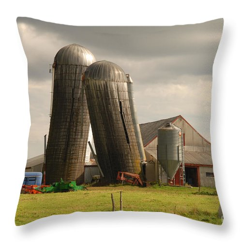 Farm Throw Pillow featuring the photograph Storm At The Farm by Alana Ranney