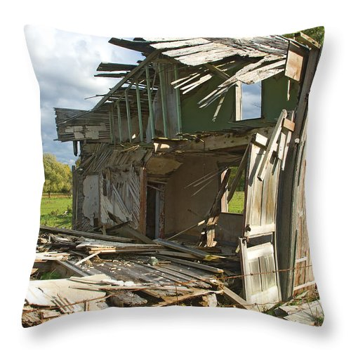 House Throw Pillow featuring the photograph Storm Blown House-1 by Steve Somerville