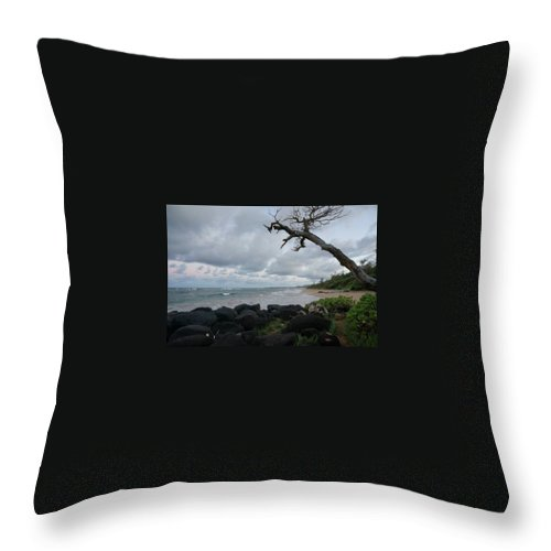 Coast Throw Pillow featuring the photograph Storm Brewing by Cara Packer