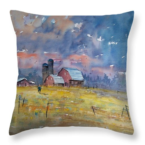 Watercolor Throw Pillow featuring the painting Storm Brewing by Ryan Radke