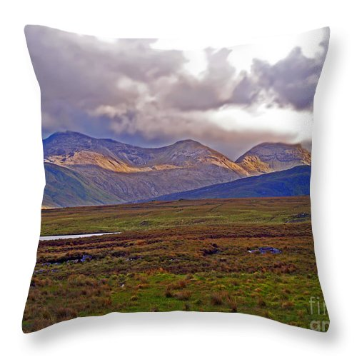 Fine Art Photography Throw Pillow featuring the photograph Storm Clouds Ahead In Connemara by Patricia Griffin Brett