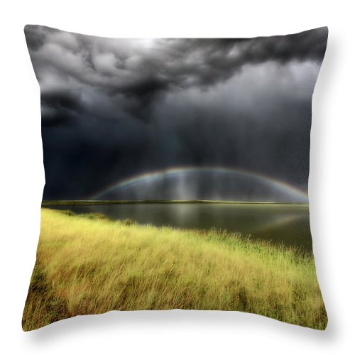 Storm Throw Pillow featuring the digital art Storm Clouds And Rainbow Over Chaplin Lake Marshes by Mark Duffy