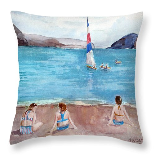 Ocean Throw Pillow featuring the painting Storm Clouds Coming by Arline Wagner