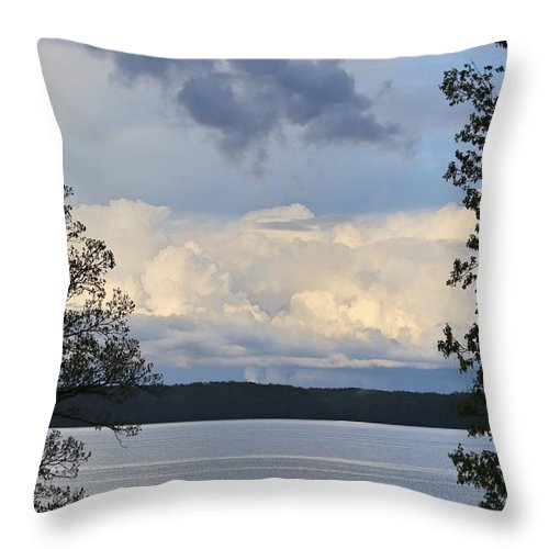 Sky Throw Pillow featuring the photograph Storm Clouds Over Kentucky Lake by Bobbie Moller