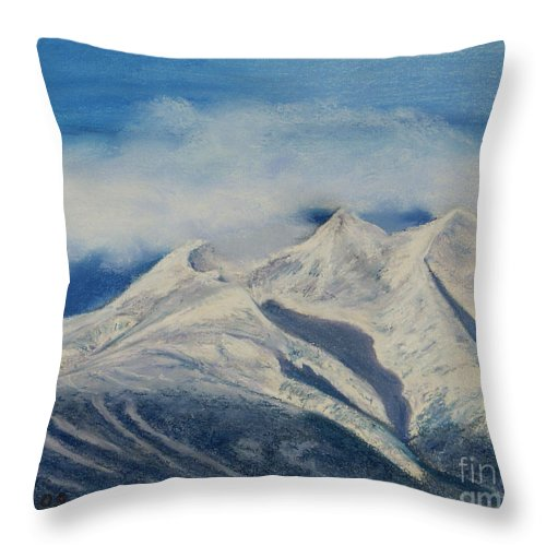 Mountain Throw Pillow featuring the painting Storm Clouds Over Winter Mountain Blues by Stanza Widen