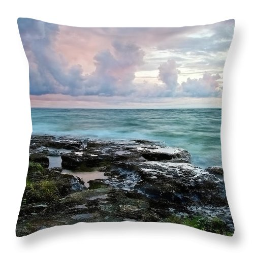 Beach Throw Pillow featuring the photograph Storm Clouds by Phill Doherty