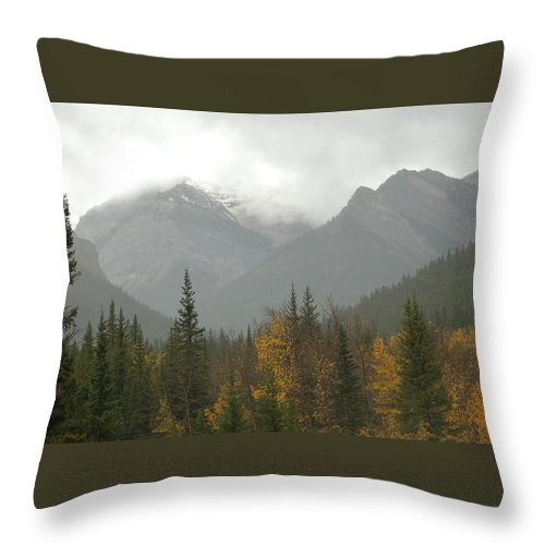 Misty Throw Pillow featuring the photograph Storm In The Mountains by D Nigon