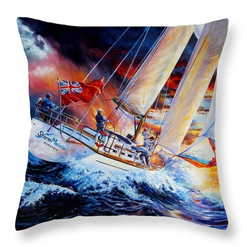 Sailboat Throw Pillow featuring the painting Storm Meister by Hanne Lore Koehler