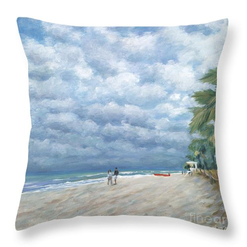 Fort Lauderdale Throw Pillow featuring the painting Storm On The Horizon by Danielle Perry