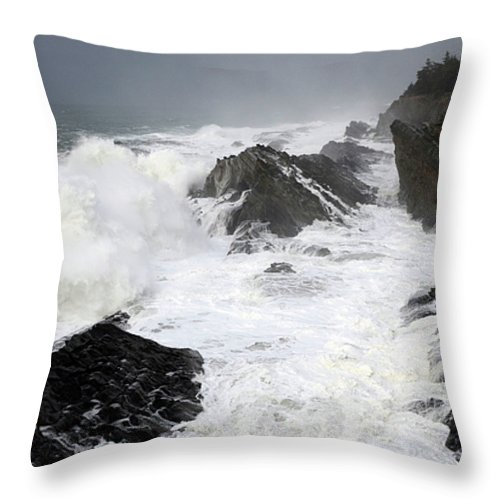 Lighthouse Throw Pillow featuring the photograph Storm On The Oregon Coast by Bob Christopher