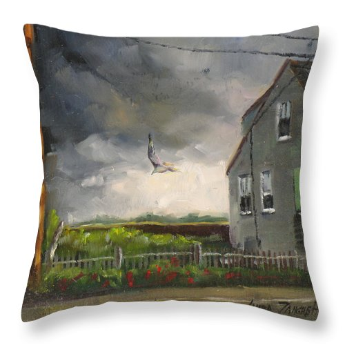 Painting Throw Pillow featuring the painting Storm Over Hull Jr by Laura Lee Zanghetti