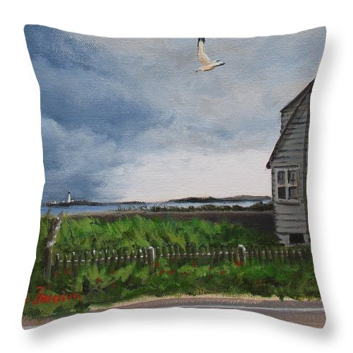 Seascape Throw Pillow featuring the painting Storm Over Hull by Laura Lee Zanghetti
