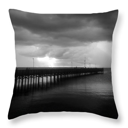 Anclote Keys Throw Pillow featuring the photograph Storm Over The Anclote by David Lee Thompson