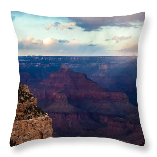 Grand Throw Pillow featuring the photograph Storm Passes The Grand Canyon by Ed Gleichman