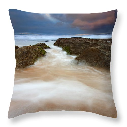 Seascape Throw Pillow featuring the photograph Storm Shadow by Mike Dawson