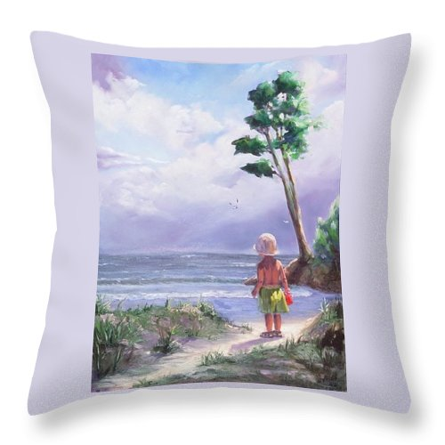 Seascape Throw Pillow featuring the painting Storm Watching by Laura Lee Zanghetti
