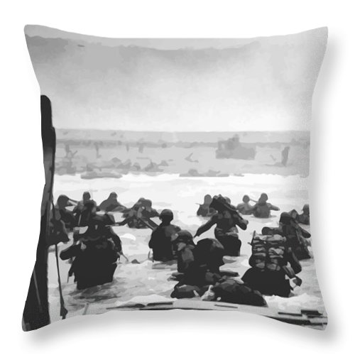 D Day Throw Pillow featuring the painting Storming The Beach On D-Day by War Is Hell Store